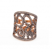 FACHIDIS Rose Gold Ring With 1.03ct Diamonds