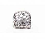 FACHIDIS White Gold Ring With Black Rhodium And Diamonds