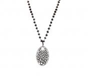 FACHIDIS White Gold Pendant With Black Rhodium And Diamonds