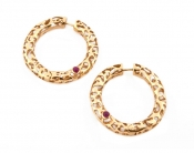 FACHIDIS Yellow Gold Earrings With Rubies