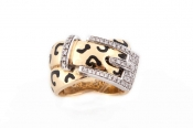 FACHIDIS Yellow And White Gold Ring With Diamonds