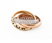 FACHIDIS Yellow,White And Rose Gold Ring With Diamonds