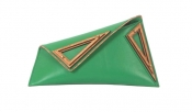 GEORGINA SKALIDI Eave 16a Bright green Leather & Wood Clucth