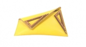 GEORGINA SKALIDI Eave 16b Yellow Leather & Wood Clucth