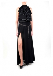 OURANIA KAY Black Maxi Dress with chain belt