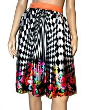 OURANIA KAY High-Waist Floral Midi Skirt