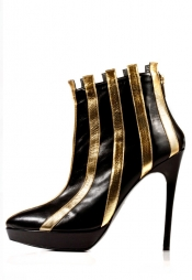 STATHIS SAMANTAS Calfskin & Metallic Leather Booties