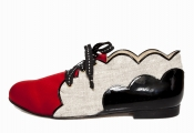 STATHIS SAMANTAS Red Satin, Beige Linen And Black Patent Leather