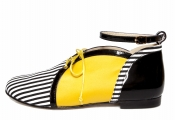 STATHIS SAMANTAS Striped Black/White Cotton, Yellow Satin And Bl