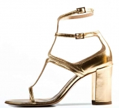 STATHIS SAMANTAS Gold Metallic Leather Sandal
