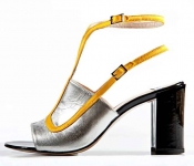 STATHIS SAMANTAS Satin And Leather Sandal