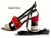 STATHIS SAMANTAS Red Satin And Black Patent Leather (Sold Out)