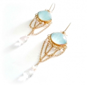 TONIA MAKRI Earrings With Double Crystal Turquoise & Morganite
