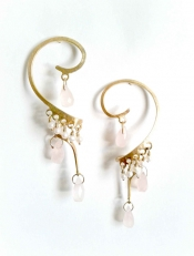 TONIA MAKRI Earrings With Pearls & Rose Quartz