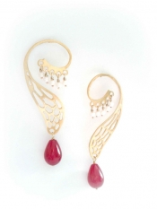 TONIA MAKRI Earrings With Jade & Pearls