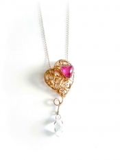 TONIA MAKRI Pendant With Double Crystal Ruby & Crystal Quartz