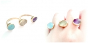 TONIA MAKRI Ring With Agate, Prenite & Amethyst